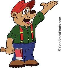 Hatchet Beaver - A cartoon beaver wearing coveralls holding...