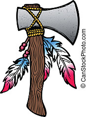 Hatchet illustration - Hatchet axe drawing with feathers and...