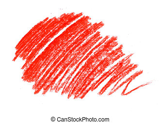 hatching astrakhan children's wax red pencil on a white background