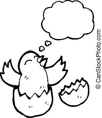 hatching chick with thought bubble