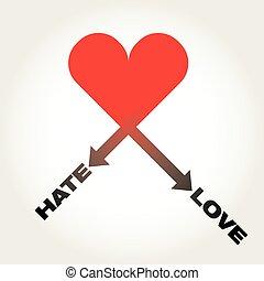 hate-love, corazón, vector