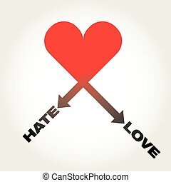 HATE-LOVE vector heart
