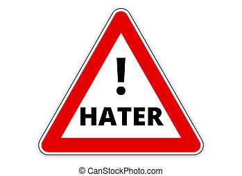 hater, rosso, segno