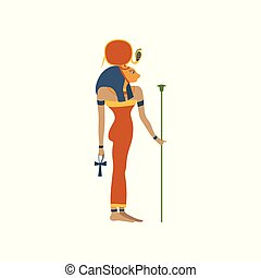 Hathor, ancient Goddess of love, symbol of traditional Egyptian culture cartoon vector Illustration