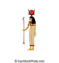Hathor Goddes of Love, Beauty and Art, Symbol of Ancient Egyptian Culture Vector Illustration