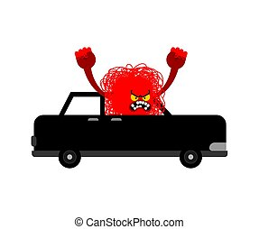 Hatred Black monster in car. Angry driver Hater. Vector illustration