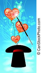 hats., シリンダー, ボール, 心, フォーカス, 空気