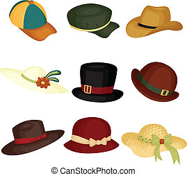A vector illustration of different type of hats