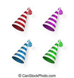 hats., barwny, urodziny, set., odizolowany, ilustracja, wektor, tło, pasiasty, kapelusz, biały