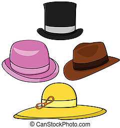 Hats - Cartoon illustration set of four different hats