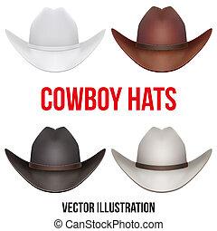 hats., conjunto, vaquero, aislado, ilustración, fondo., vector, blanco