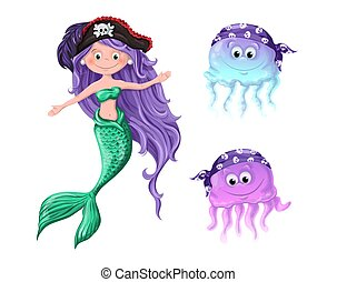 hats., -, dessin animé, caractères, agréable, pirate, sirène, méduse