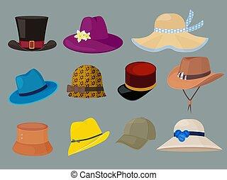 hats., elegante, caricatura, mulher, jogo, roupas, guarda-roupa, homem, vetorial, moda