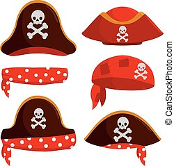 hats., ensemble, illustration, vecteur, capitaine, pirate