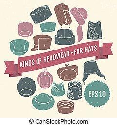 hats., generi, 10, headwear., eps, pelliccia