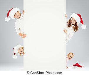hats., guten, familie, ihm, santa, advertisement., weihnachten, glücklich