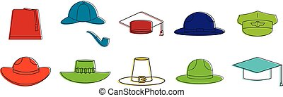 Hats icon set, color outline style - Hats icon set. Color...