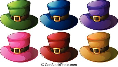 illustration of different colo hats