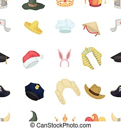 Hats pattern icons in cartoon style. Big collection of hats vector illustration symbol.