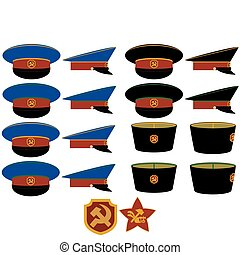 Hats RCM RSFSR - Insignia and headgear RSFSR militia after...