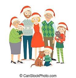 hats., rodzina, razem., style., odizolowany, dziadkowie, dzieci, rodzice, pociągnięty, białe boże narodzenie, szczęśliwy, płaski, cielna, ilustracja, ręka, portrait., tło, rysunek, 10, eps, wektor