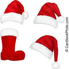 hats., rosso, santa, vector.