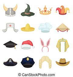 Hats set icons in cartoon style. Big collection of hats vector illustration symbol.