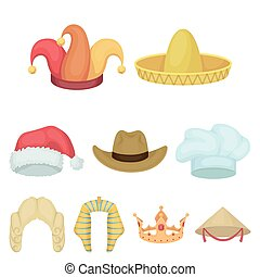 Hats set icons in cartoon style. Big collection of hats vector symbol stock illustration