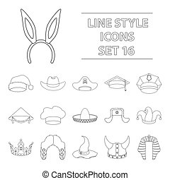 Hats set icons in outline style. Big collection of hats vector symbol stock illustration