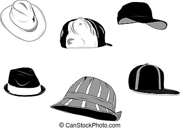 Set of several type of hats for men, new and old.