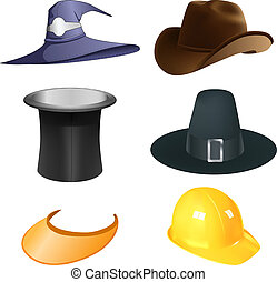 set of six vector various hats