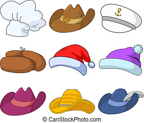 Hats, set - Vector, set of various hats: Santa Claus, cook,...
