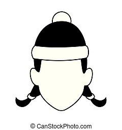 hatt, default, jul, flicka, ikon