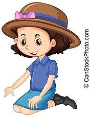 hatt, en, brun, lycklig, flicka