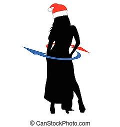 hatt, flicka, vektor, silhuett, jul
