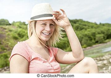 hatt, kvinna, strand