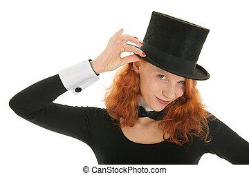 hatt, kvinna, svart