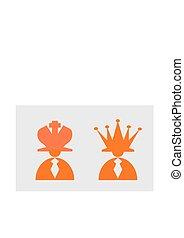 hatt, schack, ledarskap, businessmans, kung, metafor, queen.