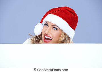 hatt, skratta, underteckna, kvinna, jultomten