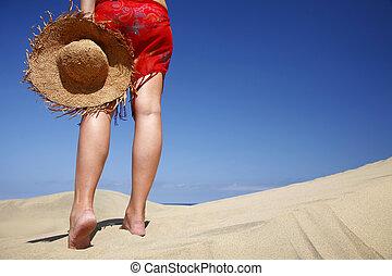 hatt, strand, kvinna