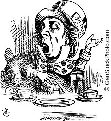 Hatter engaging in rhetoric, Alice in Wonderland original...