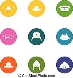 Hatter icons set, flat style - Hatter icons set. Flat set of...