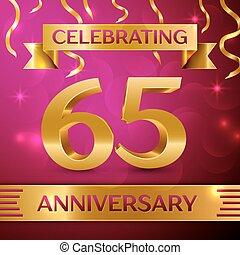 hatvan, öt, év, évforduló celebration, design., konfetti, és, arany-, szalag, képben látható, rózsaszínű, háttér., színes, vektor, sablon, alapismeretek, helyett, -e, születésnap, buli., évforduló, szalag