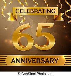 hatvan, öt, év, évforduló celebration, design., konfetti, és, gold szalag, képben látható, arany-, háttér., színes, vektor, sablon, alapismeretek, helyett, -e, születésnap, buli., évforduló, szalag