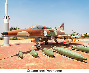 HATZERIM, ISRAEL - APRIL 27, 2015: Israel Air Force Kfir C7 fighter jet on display in the Israeli Air Force Museum. Kfir is the first made in Israel museum fighter aircraft made by IAI