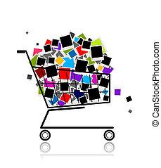 haufen , von, fotos, in, einkaufswagen, für, dein, design