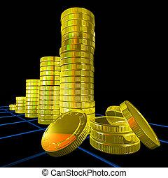 haufen , von, geldmünzen, shows, monetär, erfolg