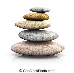 haufen , von, kieselsteine, für, spa, therapie