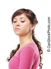 Haughty brunette in pink