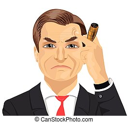 haughty mature businessman smoking cigar